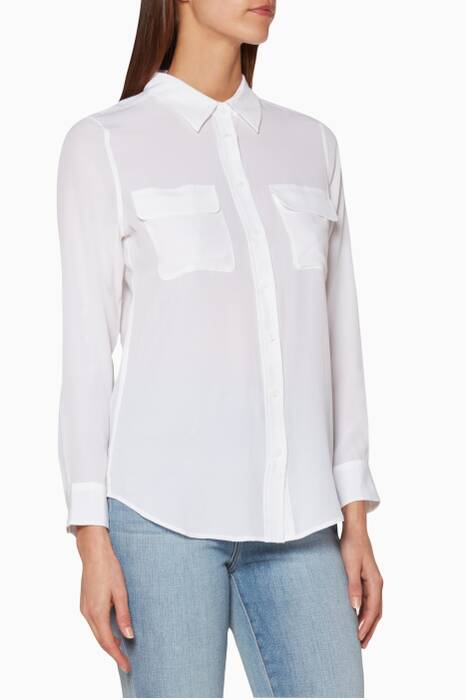 White Slim Signature Silk Shirt