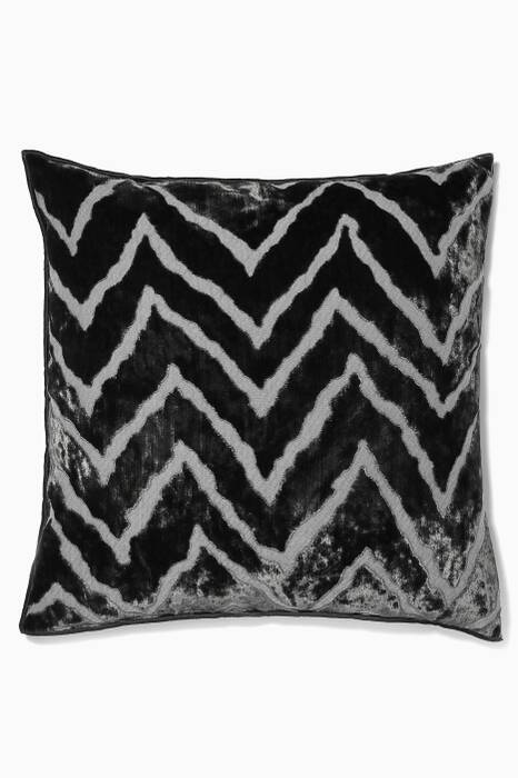 Grey Vice Versa Zig Zag Velvet Cushion