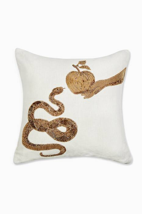 White Muse Snake & Apple Throw Pillow