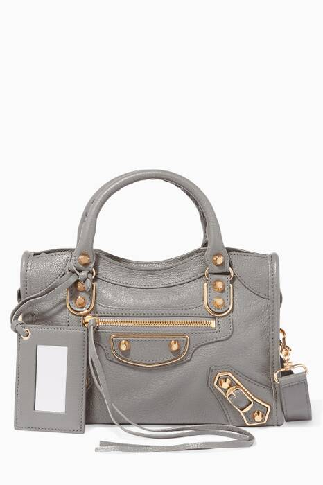 Grey Mini Classic Metallic Edge City Tote Bag