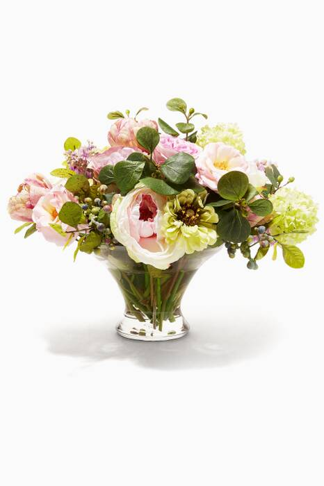 Cream and Pink Rose Zinnia Bouquet in Glass Flared Bowl