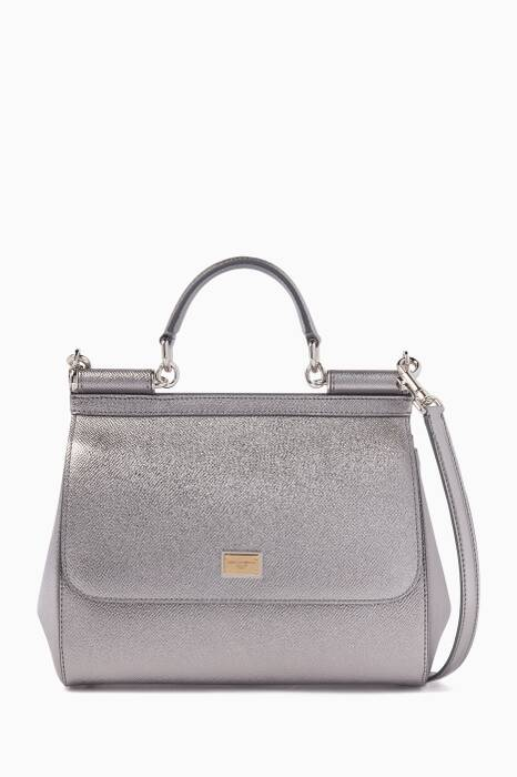 Silver Medium Dauphine Leather Miss Sicily Bag