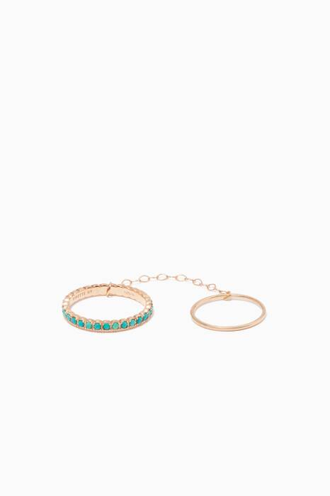 Gold & Turquoise Fallen Sky Double Ring