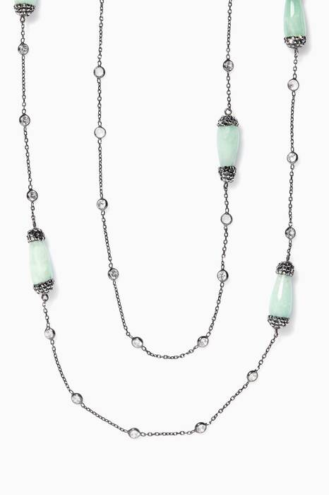 Green Jade Stone And Zirconia Necklace