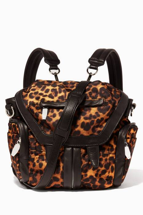 Leopard-Print Mini Marti Convertible Backpack