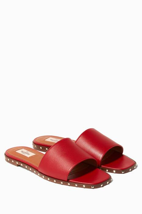 Red Rockstud Flat Slides