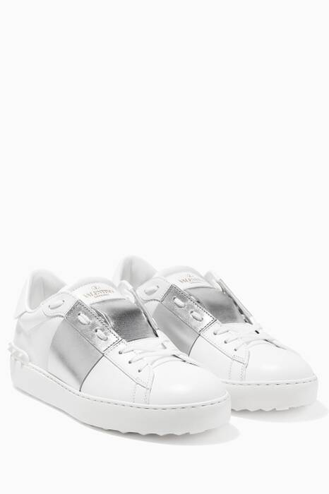 Bianco Open Leather Sneakers
