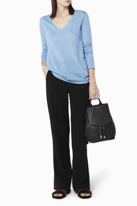 Light Blue V-Neck Raw Edge Sweater
