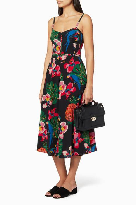 Multi-coloured Tropical Long Dress