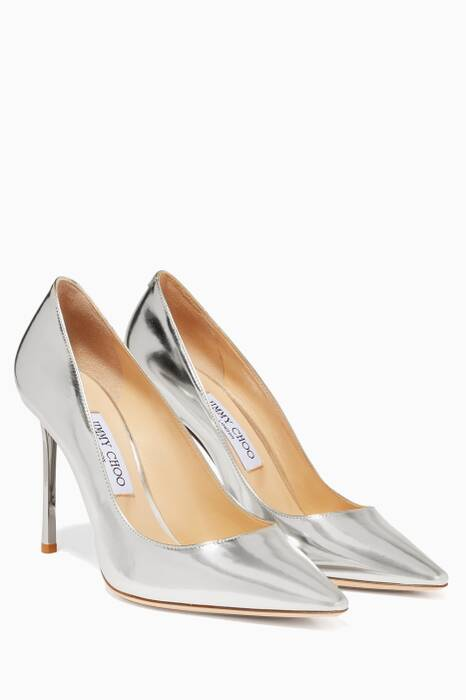 Silver Mirrored Leather Romy Pumps