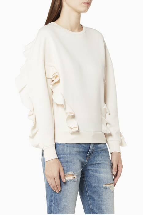 Ivory Ruffled Cotton-Jersey Sweatshirt