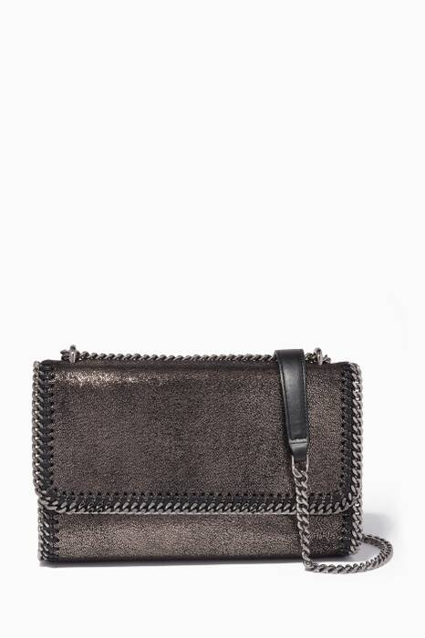 Metallic-Grey Falabella Chamois Cross-Body Bag