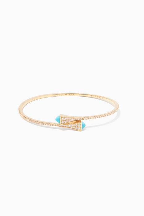 Yellow-Gold Cleo Turquoise Bangle