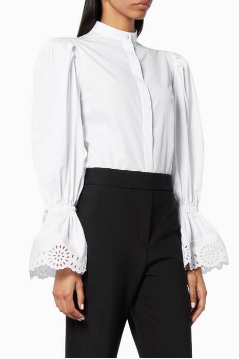 White Embroidered Sleeve Shirt