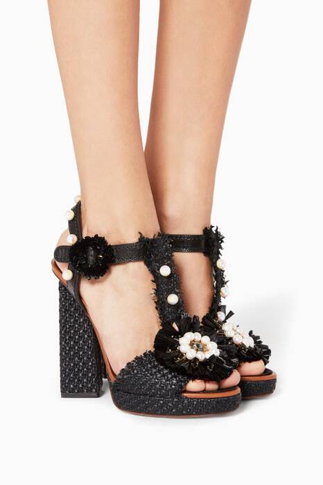 Black Keira Pearl Embellished Sandals