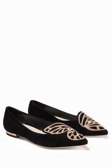 Bibi Butterfly Black And Rose-Gold Flats