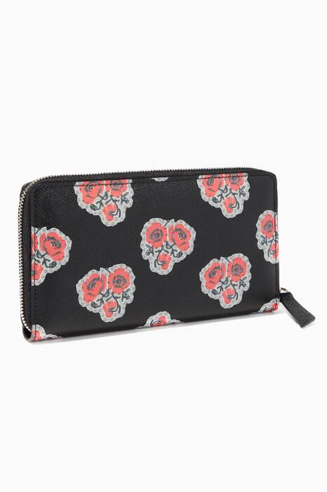 Floral Insignia Zip Around Wallet