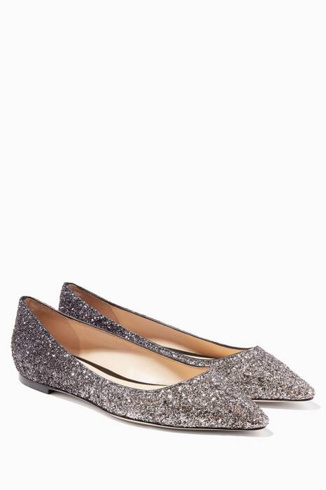 Mocha Brown Romy Glitter Point Toe Flats