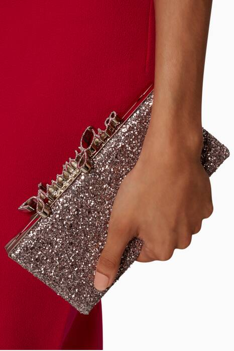 Celeste Tea-rose And Metallic Coarse Clutch