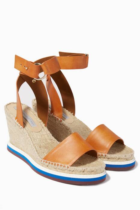 Tan-Brown Espadrille Wedge Sandal