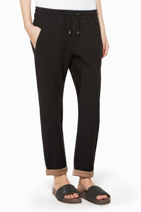 Black Contrast-Lining Track Pants