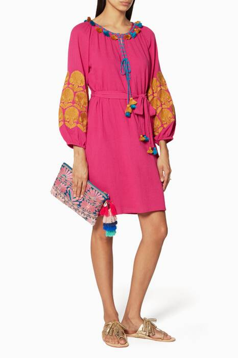 Pink Coco Embroidered Sleeve Dress
