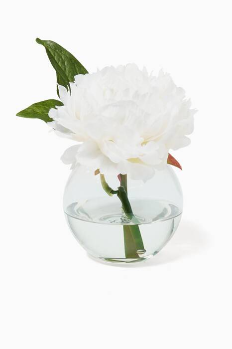 White Peony Bouquet with Glass Bubble Vase