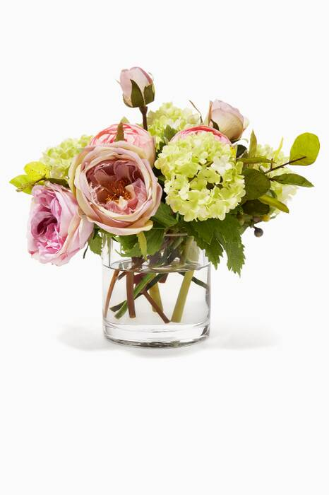 Lavender Pink Rose Ranunculus Bouquet with Glass Cylinder Vase