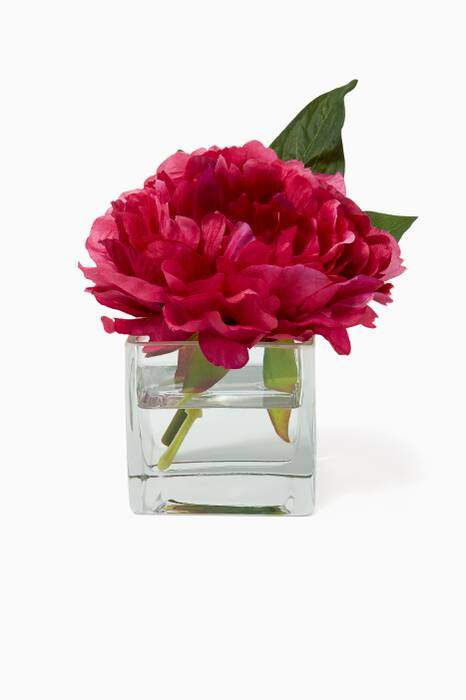 Fuchsia Peony Bouquet in Glass Cube Vase