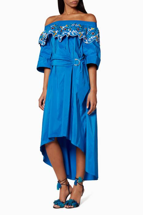 Blue Taffeta Embroidered Belted Dress