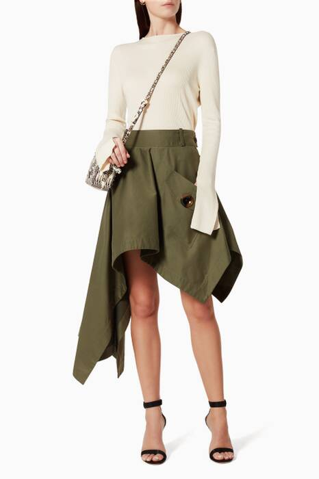 Khaki Asymmetric Skirt