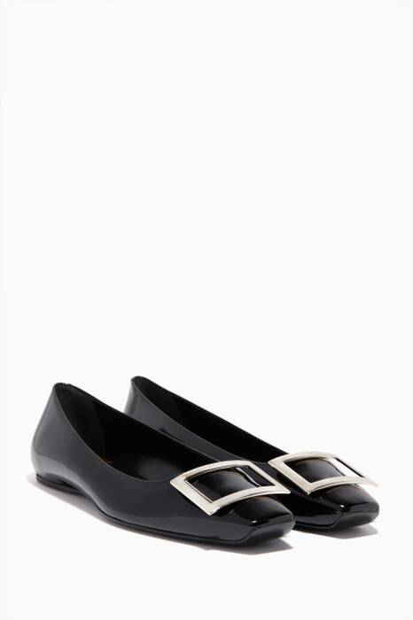 Black Patent-Leather Trompette Ballerina Flats
