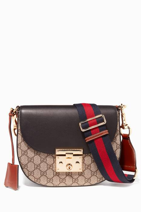 Brown Padlock GG Supreme Cross-Body Bag
