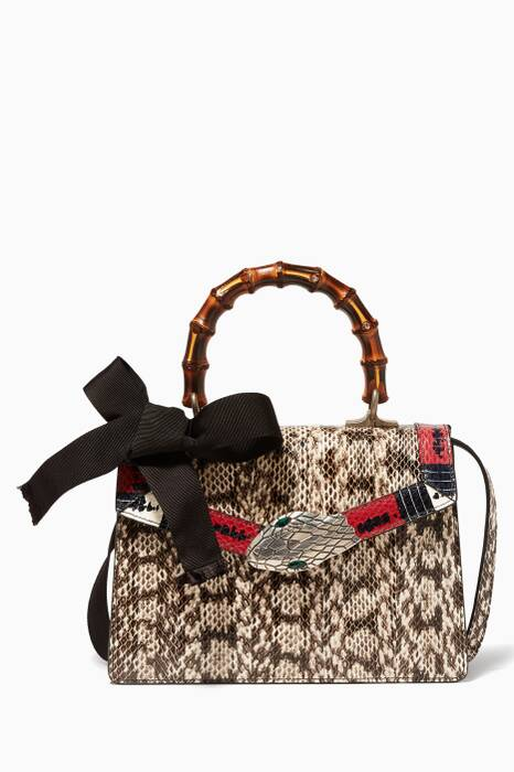 Beige Lilith Snakeskin Top Handle Bag