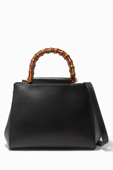 Black Nymphaea Leather Top Handle Bag