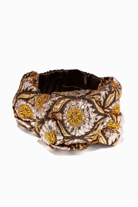 Gold Jolizan Metallic Stretch Silk Headband