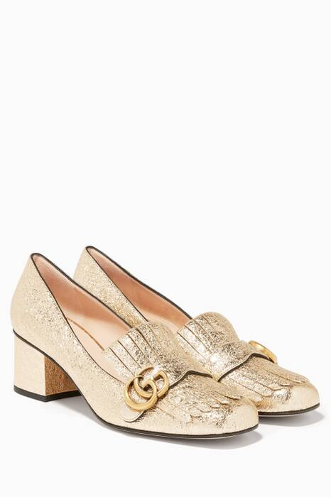 Gold Mid-Heel Loafers