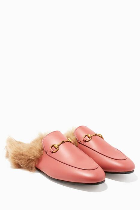 Pink Leather Princetown Loafers