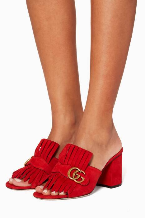 Red Suede Mid-heel Loafer Sandals