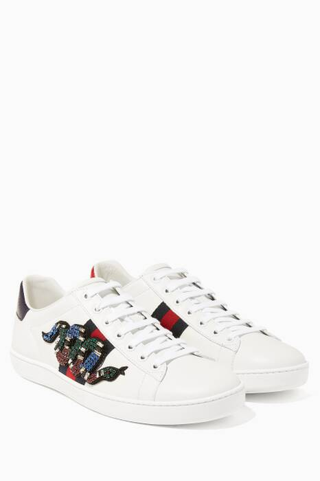 White Ace Snake-Embellished Sneakers
