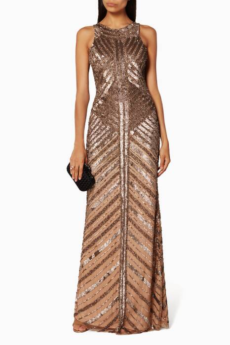 Gold Sequin And Bead Gown