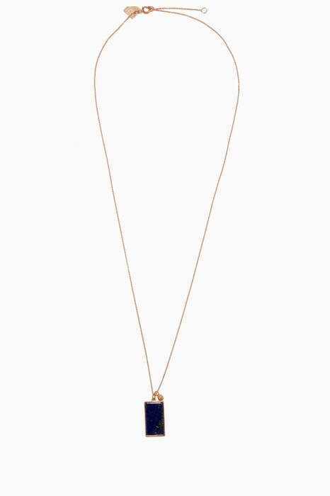 Gold &Lapis Rectangle Necklace