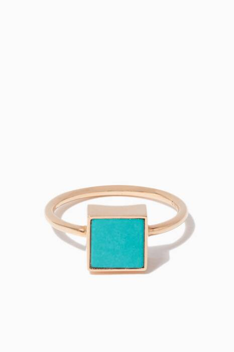 Rose-Gold & Turquoise Ever Square Ring