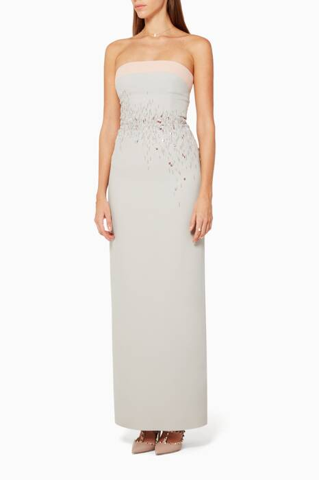 Multicoloured Strapless Embellished Gown