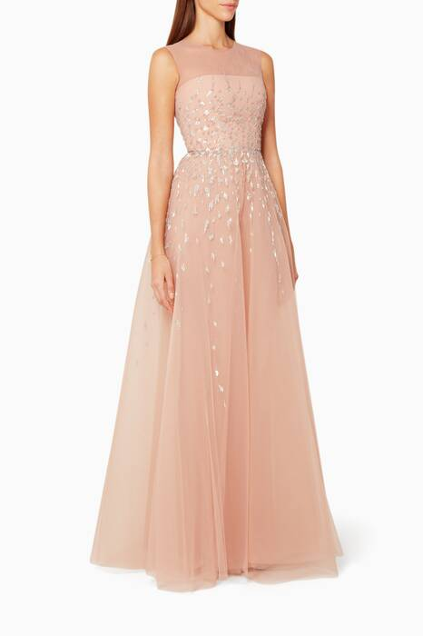Mahogany Rose Sleeveless Embellished Gown