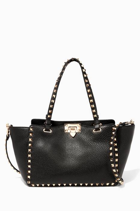 Small Noir Rockstud Textured Leather Tote Bag