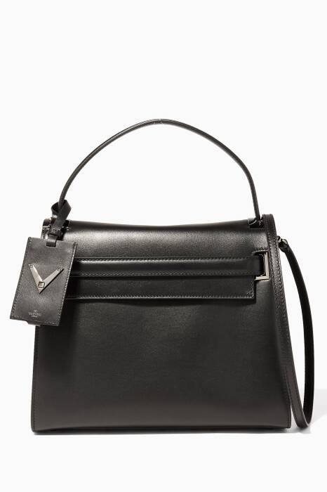 Noir Large My Rockstud Leather Tote Bag