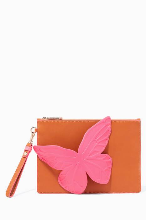 Tan Flossy Butterfly Pouch