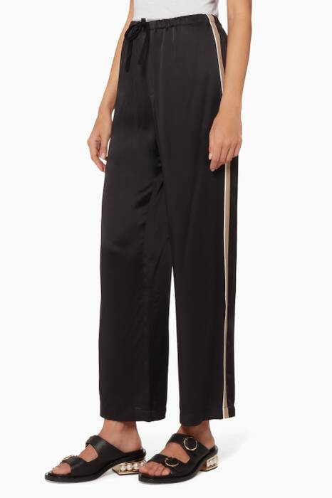 Black Striped Satin Pants