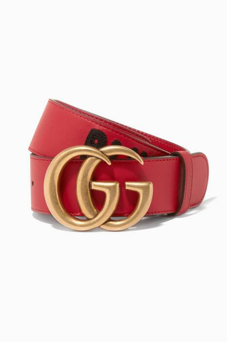 Red Blind for Love Leather Belt
